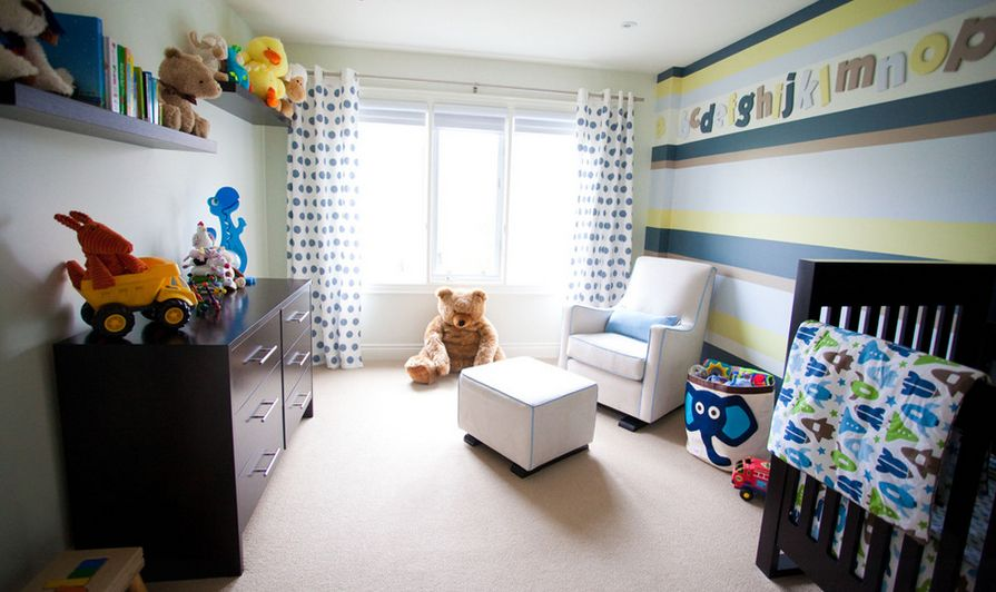 Striped walls for nursery room and alphabed letters