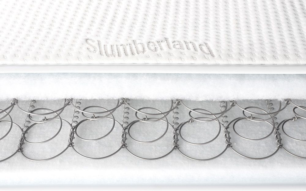 A bisection of a standard sprung cot bed mattress